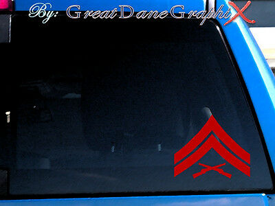 USMC Cpl Corporal Rank Chevron Vinyl Decal Sticker - Any Color - HIGH QUALITY