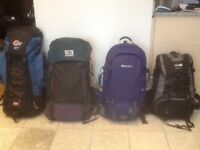 Camping and travel rucksacks 55 litres to 90 litres capacity-all lightly used-between £30 and£45each