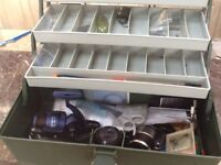 Tackle box with two reels and lots of other stuff