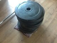 Olympic rubber coated weights and barbell