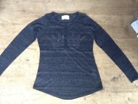 ZARA LONG SLEEVE TOP , CHARCOAL GREY WITH DIAMANTE CROWN, PETITE SIZE 10