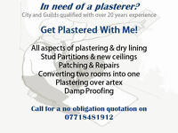 All aspests of plastering and damp proofing by city and guilds qualified plasterer