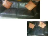 THREE SEATER AND 2 SEATER BROWN LEATHER SOFAS VERY MODERN STAINLESS STEEL LEGS ULTIMATE COMFORT