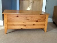 Solid pine blanket box, it is about 1 meter wide.