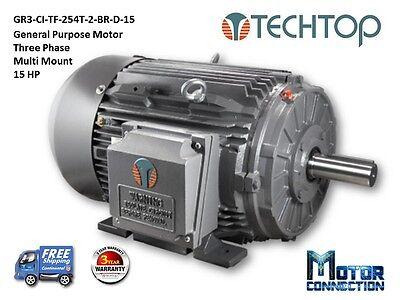 15 Hp Electric Motor Gen Purp 3600 Rpm 3-phase 254t Cast Iron Nema Premium