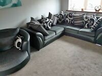 BRAND NEW SHANOON BLACK AND GREY CORNER OR 3+2 SEATER SOFA IN STOCK BUY NOW