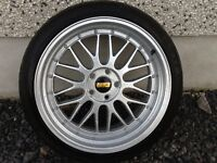 19INCH BY 9.5 - 5/100 BBS LM ALLOY WHEELS JUST HAD COMPLETE REFURB WITH TYRES FIT VW SEAT AUDI ETC