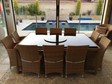 10 Seater Outdoor Dining Set with Lazy Susan Belmont Belmont Area Preview