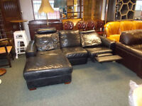 BLACK LEATHER CORNER SOFA WITH ELECTRIC RECLINER