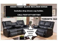 BLACK RECLINER SOFA 3 PLUS 2 BONDED LEATHER