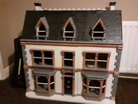 """Large 3 Tier Wooden Dolls House with Furniture and Accessories- Great Condition- 30""""wide/ 31"""" high"""
