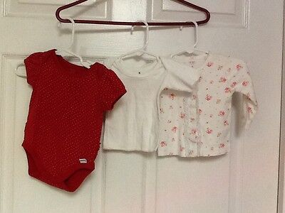 Infant girls 3 piece lot red onesies floral snap front jacket & white t shirt - Baby Onesies Bulk