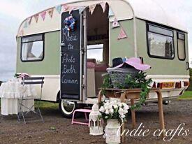Wedding photobooth photo booth caravan flower wall