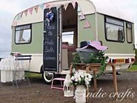 Wedding photo booth caravan quirky flower wall