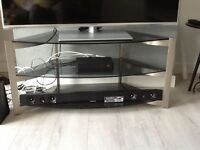 "Tv stand in brushed steel effect for up to 59"" televisions cost £149.99 in currys immaculate"