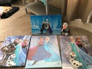4 frozen canvas and an Olaf lamp