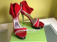 Red party heels size 6