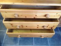 LARGE 3 DRAWER CHEST OF DRAWERS VGC SOLID BACKS DOVETAIL JOINTS EVERY INCH SOLID PINE,MEASURES 36 I