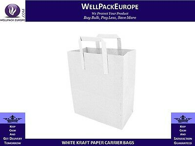 500 x SOS WHITE KRAFT PAPER CARRIER BAGS WITH HANDLES - MEDIUM - CHEAP PRICE**