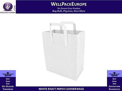 250 x SOS WHITE KRAFT PAPER CARRIER BAGS WITH HANDLES - MEDIUM - CHEAP PRICE**