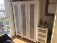 2 door wardrobe, cupboard, bedside cabinet ikea WHOLE set (second-hand) £45 - collection only.
