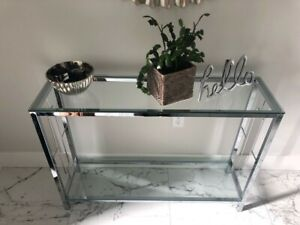 Chrome and glass console table! BRAND NEW!