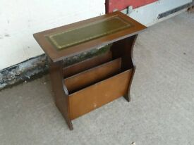 Magazine Newspaper Rack with Leather Table Top Delivery Available