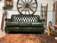 Thomas Lloyd Chesterfield Leather 3 Seater Sofa Green