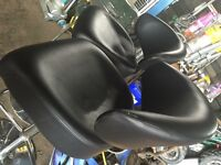 2 thick leather bar stools in black