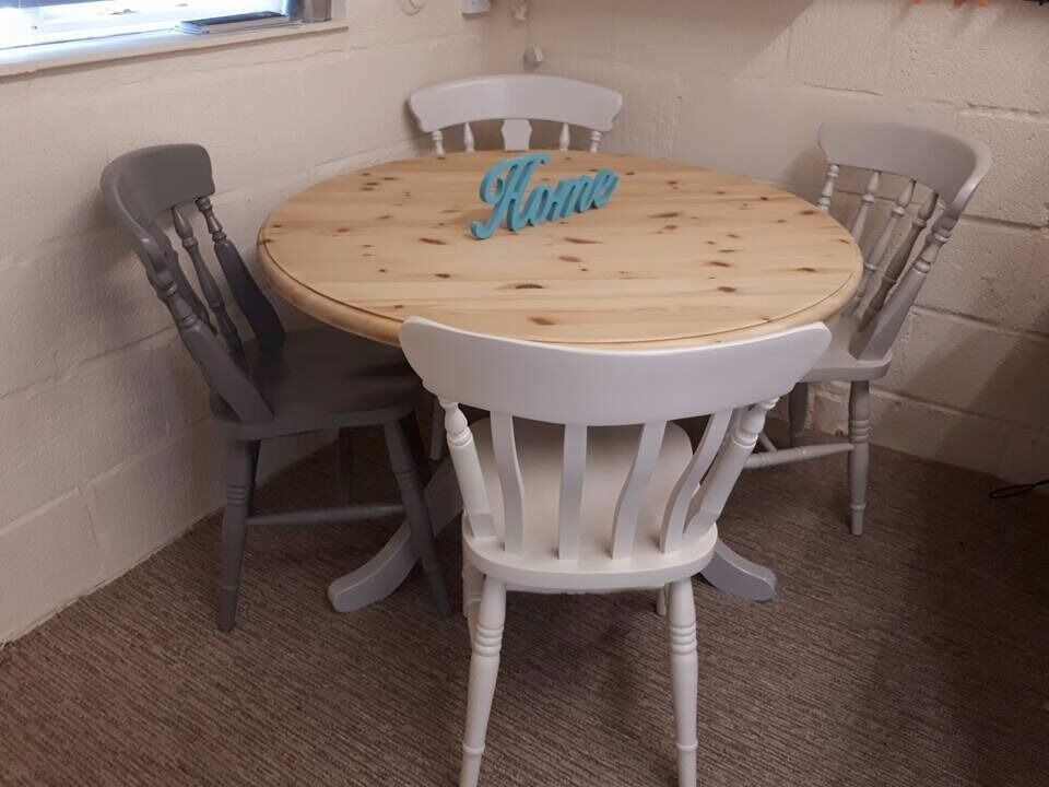 Garden Furniture Yeovil solid pine round table and chairs fully refurbished to like new