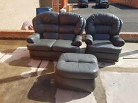 Gray leather 2 seater chair & footstool