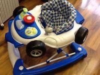 Baby Walker -F1 Racing Blue Baby Car Walker and Rocker