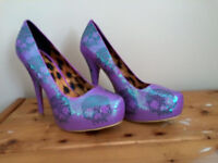 Iron Fist platform heels, purple skull sequin, never been worn, UK size 8