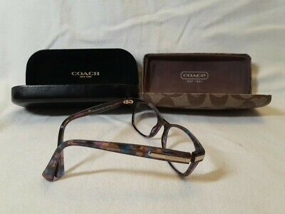 Coach Frames Eye Glasses W/ 2 Coach Carrying Case Leather 5288 Confetti Purple