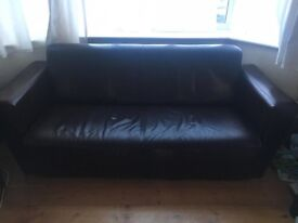 Two brown leather modern 2 seater sofas