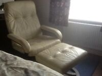 Real Leather Cream Chair & Footstool