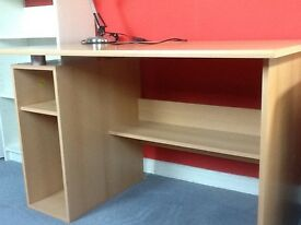 Desk, light wood, 118 cms X 74 cms X 74 cms