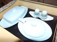 Vintage original 1950s duck egg blue melamine table set.