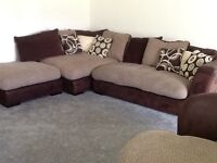 DFS pillow back corner sofa with footstool and large swivel chair