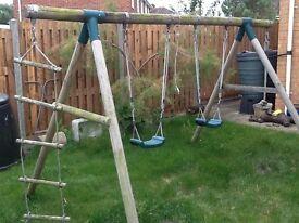 Wooden garden kids double Swing
