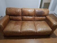 DFS Tan Leather Hobart Sofa - Large