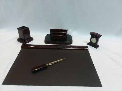Majestic Goods 5 Piece Burgundy Desk Organizer Set