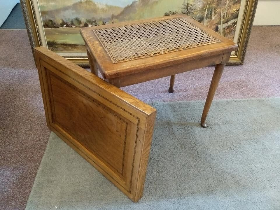Unusual Antique Cane Stool with Inlaid Tray Top.