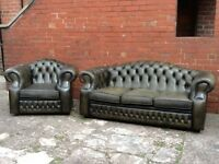 Leather chesterfield suite 3 seater sofa and 1 chair classic olive green leather can deliver £699