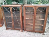 2x Old charm solid oak bookcases.