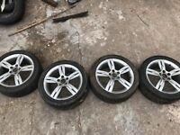 """Set Of 4 Alloys 16"""" 205,45,16 good tyres"""