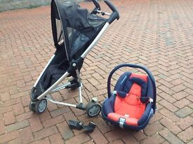Travel system: Quinny Zapp pushchair/buggy, Maxi Cosi car seat & adaptors