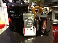 Pot bread bin and cafetière,with bag of rich coffee,both black,only £6 the pair,pos local delivery