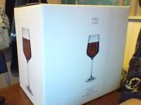 6 crystal wine Glasses from M and S unopened in box