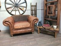 Chesterfield Armchair Leather & Fabric Studs Brown